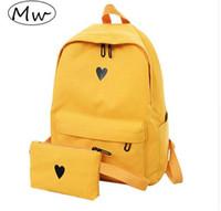 gelbes herzholz großhandel-Mond Holz Hochwertige Leinwand Gedruckt Herz Gelb Rucksack Koreanischen Stil Studenten Reisetasche Mädchen Schultasche Laptop Rucksack