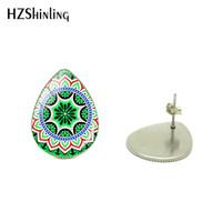 diseños de joyas de estilo indio al por mayor-Bohemia Brillante Diseño de Flores Gotas de Agua Moda Pendientes de Las Mujeres Mandala Yoga Estilo Indio Gotas de Lágrima Pendientes Joyas