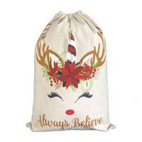 adornos de unicornio al por mayor-Bolsa de regalo de Navidad Cute Drawstring Canvas Unicorn Santa Sack 2 Style Good Quality Christmas Decoration Ornament Santa EEA381