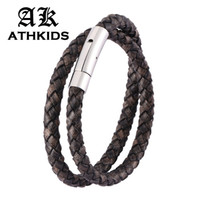 Wholesale snap wristbands resale online - Fashion Retro Black Braided Leather Double Layer Bracelet Stainless Steel Snaps Men Women Vintage Wristband Gifts PD0489