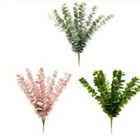 ingrosso lascia le piante-100 pz / lotto INS Eucalipto Foglie fiore Artificiale Foglie Pianta Tropicale ufficio / casa / Matrimonio Piante Giardino Home Office Decor Falso Foglia Verde