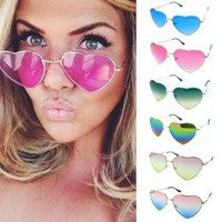 Wholesale reflective ladies sunglasses for sale - Group buy Heart shaped Sunglasses WOMEN red ladies metal Reflective LENES sun GLASSES MEN Mirror oculos de sol sun GLASSES women