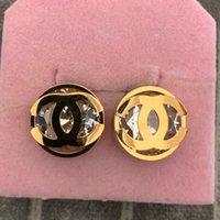 ingrosso grandi orecchini di conchiglia-Top luxury brand design oro grande diamante lettera shell orecchini orecchino gioielli 3 colori orecchini per le donne regalo di nozze spedizione gratuita