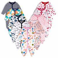 mamelucos pies al por mayor-3 unids Baby Girl Boy Ropa Footed Mamelucos Cómodo Recién Nacido Pijamas de Dibujos Animados Impreso Mono Infantil Mameluco Niñas Ropa Conjunto J190427