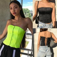 colores fluorescentes al por mayor-Sexy Lady Tops Vendaje Pecho Envoltura Crop Top Streetwear Faja de cadera Tops Color fluorescente y negro