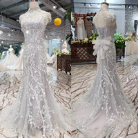 Wholesale dresses resale online - 2020 New Luxury Silver Short Sleeve Evening Dresses Illusion High Neck Backless Lace Up Back Hand Made D Floral Applique Prom Gowns
