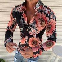 süslü bluzlar toptan satış-HIRIGIN Erkekler Günlük Elbise Gömlek Uzun Kol Çiçek Spor Gömlek Bluz Plaj Fancy Man Uzun Kollu Baskılı Gömlek Tops