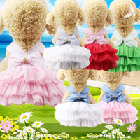 Wholesale mesh dress stripes resale online - Summer pet dog tutu dress stripe sling mesh skirt Puppy Summer Apparel pet supply