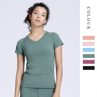 Wholesale beginner yoga resale online - Yoga Clothing Suit Female Short Sleeve Top Sports T Shirt Fitness Clothing Beginner Professional Yoga Clothing T shirt
