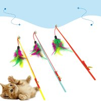 Wholesale durable pet toys resale online - Cat Fishing Rod Toys Colourful Feathers Telescopic Rope Tease Kitten Stick Bells Durable Steel Bar Pet Interaction Plaything Wand AAA2009