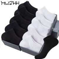 iş gösterisi toptan satış-MWZHH Yaz Ince Kesit Yüksek Kaliteli erkek Tekne Çorap Beyaz 10 Pairs Harajuku Marka Iş Eğlence No Show Çorap 100 Pamuk