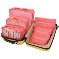 organizador de ropa al por mayor-Marca 6 Unids Packing Cube Organizador Bolsa de Viaje Mujeres Gran Capacidad Almacenamiento de Ropa Impermeable Clasificación Equipaje Bolsa de Malla
