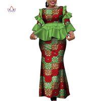 ingrosso abiti tradizionali gonne-2019 Nuovi abiti Kanga larghi africani per donna Gonna tradizionale in cotone tradizionale Dashiki Set di 2 pezzi Abbigliamento WY4142