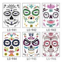 dövmeler yeni kafatasları toptan satış-Yeni Sıcak Satış 10pcs / lot Cadılar Bayramı Geçici Yüz Sanat Su geçirmez Maskesi Şeker Kafatası Dövme Güzellik Çıkartma