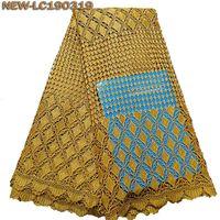 patio de encaje amarillo al por mayor-Alta calidad tela de encaje guipur africano cordón amarillo nigeria soluble en agua tela de encaje para el vestido de boda 5 yardas / lot BGE04