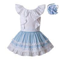 roupa bonito das meninas 3t venda por atacado-Pettigirl mais novo Children Designer Clothes Meninas Set Branco camisa de algodão e céu azul plissado saia bonito Kids Clothing G-DMCS201-C142