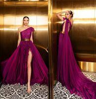 bej seksi balo elbiseleri toptan satış-2020 Julie Vino Üzüm Abiye Bir Omuz Seksi Yan Bölünmüş Backless Balo Elbise Vestidos De Quinceañera Bir Çizgi Resmi Parti Giymek