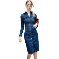 ingrosso vestito lungo dal denim-2018 OL Office Sexy Denim Dress Plus Size 3XL 4XL Manica Lunga Jeans Dress Donna Bodycon Matita Vestido Jeans Feminino