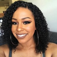 Wholesale big virgin black lady online - Curly Human Hair Lace Front Wigs Bob Short Glueless Virgin Brazilian Pre Plucked Full Lace Curly Bob Wig For Black Women