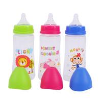 gelbe babyflaschen großhandel-300 ML Baby Cartoon Milch Weithalsflasche Saft Flasche Baby Milch Sicherheit Silikon Ergänzung Reis Paste