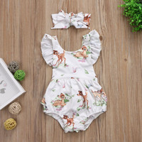 Wholesale deer baby clothing for sale - Group buy Newborn Kids Baby Girl Clothes Jumpsuit deer Romper Cute Sunsuit Headbands Outfits Clothing Baby Girls