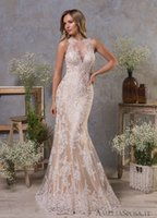 Wholesale crepe back satin wedding dress resale online - Mermaid Lace Wedding Dresses Vestido de Noiva Champagne Sereia Sheer Illusion Bridal Gowns Elegant Formal Dress Gown abiti da sposa