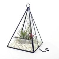 ingrosso piante di terrario-Modern Pyramid Shape Hanging Glass Planter Pianta grassa di aria Cactus Terrarium Micro Paesaggio Centrotavola serra Vaso di fiori