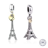 The Paris Eiffel Tower Charm with Golden Heart Authentic 925 sterling silver for European Bracelet