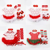 Wholesale girls character shoes for sale - Group buy Girls Cartoon Romper Set Merry Christmas Theme Stars Jumpsuit Lace Bow Tie Dot Striped Onesies Foot Cover Headband Shoes