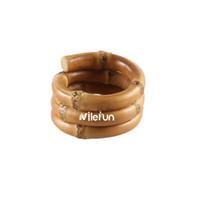 guardanapo anel redondo venda por atacado-Círculo redondo três anéis de largura anel de guardanapo de raiz de bambu para restaurante