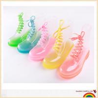 crianças de plástico para água pulverizada venda por atacado-PVC Transparente Mulheres Colorido Cristal Apartamentos Saltos de Água Sapatos Femininos Rainboot Martin Chuva Botas