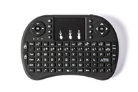 teclados recargables al por mayor-50 unids Rii I8 Mini teclado Air Mouse 2.4G inalámbrico recargable de ion de litio batería Control remoto para Android TV BOX X96 TX3 mini