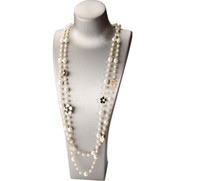 High Quality Women Long Pendants Layered Pearl Necklace Collares de moda Number 5 Flower Party Jewelry GD290