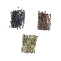 du geformte barrettes großhandel-Haarspangen schwarz U-förmige Haarnadeln Haarspange 6cm Metall plattiert braune Bobby Pins für Frauen Mädchen