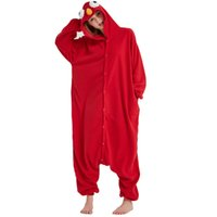 heiße kigurumi großhandel-Hot Red Sesamstraße Kigurumi Karikatur-Plätzchen-Monster-Pyjamas-Party-Bodysuit Cosplay Sleepwear Halloween Custome