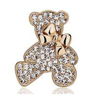 Wholesale crystal bear brooch resale online - High Quality Bear Brooch Factory Direct Wedding Bridal Brooch Pin Exquisite Shinning Rhinestone Animal Teddy Bear Bowtie Brooch