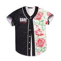 плюс кардиган с коротким рукавом оптовых-Плюс Размер Мужская Дизайнерская Рубашка Лето 3D Цветочные Печатные Панельные Цвета С Коротким Рукавом Бейсбол Кардиган Рубашки Повседневная Подростковая Рубашка