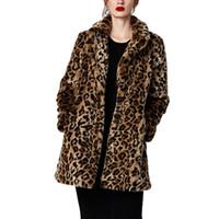 mink kadın ceketleri toptan satış-Kadın Palto Uzun Leopar Faux Kürk Palto 2019 Kış Sıcak Tüylü Vizon Siper Cep Ceket Zarif Lüks Kadın Gevşek Palto Xxl