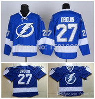 трикотаж с молнией оптовых-2016 Аутентичные 27 Jonathan Drouin Jersey Tampa Bay Lightning Хоккей Трикотажные изделия Home Royal Blue Джонатан Друин сшитые Джерси