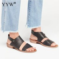 2019 vintage donna estate sandali casual grandi scarpe PU tacco basso sandali piatti per le donne sandali gladiatore signore scarpe da spiaggia