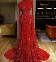 zuhair abendkleid rote spitze großhandel-Abendkleid Yousef aijasmi Kim kardashian Rote Blini-Pailletten A-Line Eine Schulter Split Langarm Spitze Kristall Zuhair Murad 101