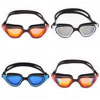 ingrosso grandi occhiali di scatola-Occhiali per adulti Anti Nebbia Occhiali da nuoto Luce polarizzata HD Occhiali da sub Placcatura Grande scatola Forte tenuta Verde giallo 42pyC1