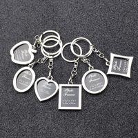 Wholesale keyrings photo frame resale online - 6 styles Photo Frame Round Heart Apple Oval Rhombus Shape Metal Keychain Key Chain Keyring Car Keychains Couples Keyring Gift