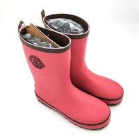 botas de lluvia de goma roja de las mujeres al por mayor-2018 New Style Student Red Senior niños Botas de lluvia con zapatos de agua Textura de cuero Botas de lluvia de goma Mangas Bota para mujeres