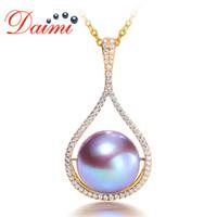 ingrosso perle originali per il matrimonio-DAIMI 12-12.5mm Natural Pearl Pendant Necklace Genuine 14K Gold Pendant Round Purple Pearl Wedding Jewelry