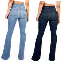 legging jeans heiß großhandel-2019 Hot Ausgestelltes Jeans Frau Elegante Retro Stil Glocke Untere Dünne Denimhosen Weites Bein Jean Hohe Taille Sexy Freizeithose