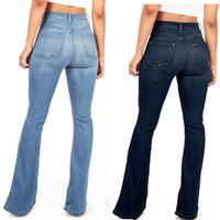 mulheres quentes sexy jeans venda por atacado-2019 Hot Flared Jeans Mulher Elegante Retro Estilo Sino Inferior Skinny Denim Calças de Perna Larga Jean de Cintura Alta Sexy Calças Casuais