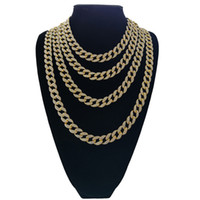Wholesale hot cuban link chain resale online - Hot Sale mm Thick Cuban Chain K Gold plated Hip Hop Full Diamond Heavy Necklace for Mens