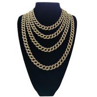 цепь ожерелья 24k серебряная оптовых-Горячие продажи! 15mm Толстая кубинская цепи 24K позолоченный Hip Hop Тяжелое ожерелье Полный Алмазные для Mens