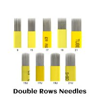 Wholesale permanent eyebrow makeup blades resale online - Double Rows Microblading Needles mm Flat Shading U Needles Permanent Makeup Eyebrow Tattoo Needles Embroidery
